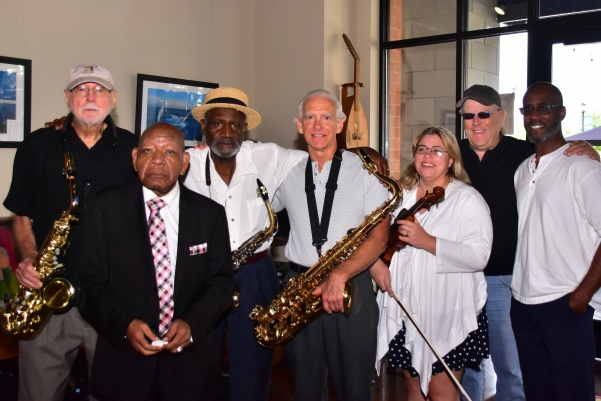 Peaches Jazz Message, with Lee Trapp sitting in, poses after playing a concert at Picasso's on Beale Street in 2016. From left: Lee Trapp, Bobby Scott, James