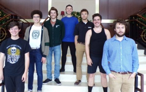 The all-male theater class stands in the J. Scheidegger Center, which will be their second home for the next four years. From left: Camden Scifres, Matthew Hansen, Michael O'Hara, Cody Ramsey, Valiante Waltz, Ian Fleming and Yianni Perahoritis. <br> Photo by Arin Froidl