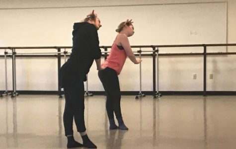 Kate Harpootlian, left, works with student Sydney Gibbs during a choreography session on Monday, Feb. 26, with the cast of the upcoming Spring Dance Concert. <br> Photo by Megan Courtney