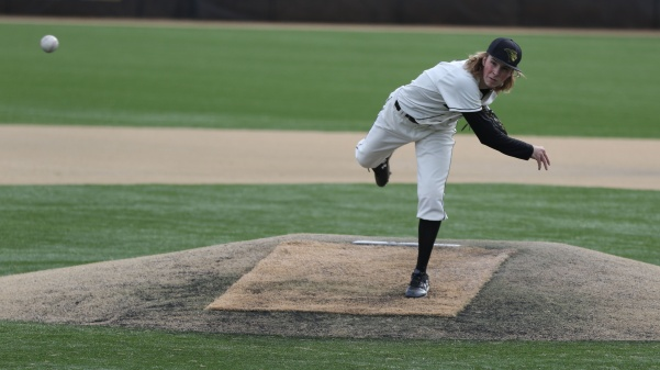 Pitcher Tyler Cassmeyer delivers a pitch in Lions' 7-0 win over Union University on Sunday afternoon. Cassmeyer notched his second complete game of the season.  Photo by Kyle Rhine