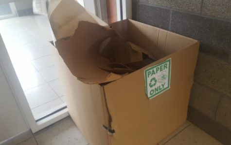 A cardboard box used to collect paper recycling in Guffey Hall<br /> Photo by Matt Hampton