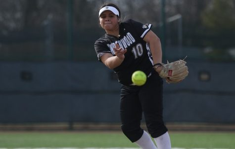 Lindenwood's Marina Esparza pitches during the team's season opener against Quincy University on Feb. 14. Esparza nearly pitched a no-hitter during Tuesday's game against Saint Louis College of Pharmacy.  <br> File photo by Michelle Sproat. </br>