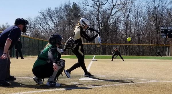 Lindenwood's Megan Clark attempts to make contact at bat while Wisconsin-Parkside's catcher, Megan Aliverti, waits behind the plate.  Lindenwood defeated Wisconsin-Parkside 9-4.   Photo by Michelle Sproat