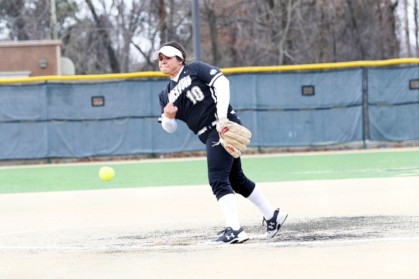Pitcher Marina Esparza, No. 10 delivers a pitch in Lions' 9-1 loss to Washburn on March 25th in St. Charles.   Photo by Kyle Rhine