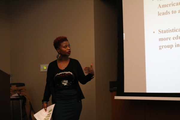 Whitney Mathison presented a talk on African Americans mental health in the modern technological age on Wednesday, at 4 p.m. in Evans Commons.  Photo by Abby Stone