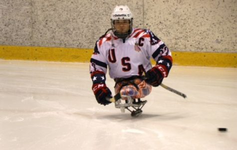 Lindenwood alumnus Josh Pauls on the ice. Pauls won his third gold medal as the United States defeated Canada 2-1 in the Paralympic Games. <br/> Photo by USA Hockey.