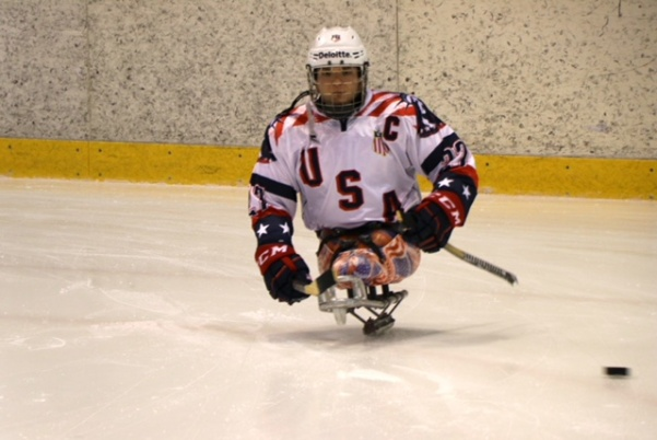 Lindenwood alumnus Josh Pauls on the ice. Pauls won his third gold medal as the United States defeated Canada 2-1 in the Paralympic Games.  Photo by USA Hockey.