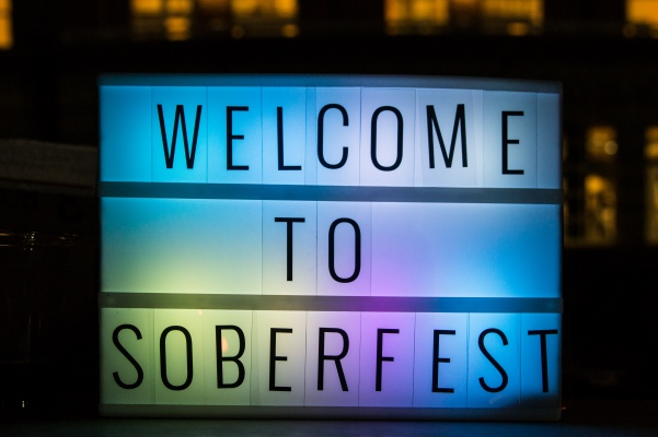 The+%22Welcome+to+Soberfest%22+sign+that+was+placed+outside+of+the+event.++Photo+by+Tyler+Keohane