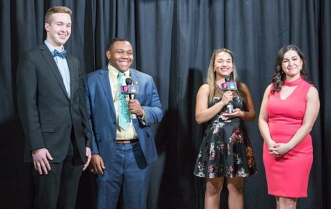 Hosts Scott Mandziara (left) and Sami Glenn (right) are interviewed by LUTV's Romero Starks and Brie McLemore at the 2018 Lindy Awards. The 2019 awards show will be held on April 18 at 7 p.m. in the Emerson Black Box Theater.  File photo by Tyler Keohane
