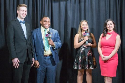 Hosts Scott Mandziara (left) and Sami Glenn (right) are interviewed by LUTV's Romero Starks and Brie McLemore at the 2018 Lindy Awards. The 2019 awards show will be held on April 18 at 7 p.m. in the Emerson Black Box Theater. <br> File photo by Tyler Keohane