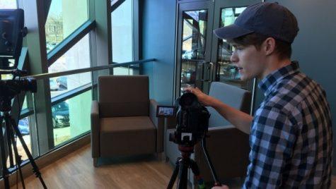 Chris Brueggeman on the set of his show