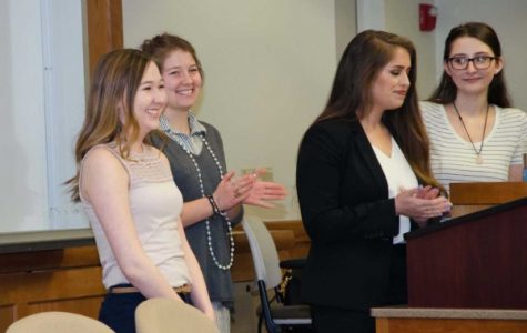 From left: Abby Russell, Julia Thorne, Krystia Grembocki and Mariah Palmer present during the Psi Chi induction March 3. All four are Psi Chi officers, Grembocki being the Psi Chi president. <br> Photo by  Christopher Scribner