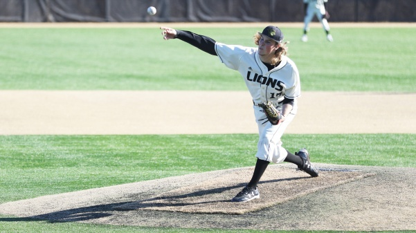 Tyler Cassmeyer, No. 17, delivers the pitch in the Lions' 5-2 loss to Northeastern State on Feb. 25 in St. Charles.  Photo by Kyle Rhine