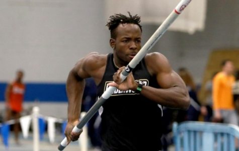 Xavier Boland, a member of the track and field team at Lindenwood, was charged with three counts of felony invasion of privacy. File photo of Boland's pole vaulting competition by Don Adams Jr. and Lindenwood Student Life Sports website.
