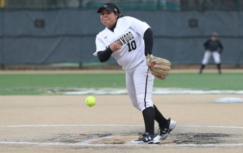 Pitcher Marina Esparza, No. 10, delivers a pitch in the Lions' 7-1 win over Emporia on Friday afternoon. <br> Photo by Kyle Rhine