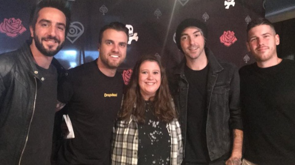Megan Courtney with the band All Time Low in Peoria, Illinois, on Saturday, April 7.  Photo by Ricky Fernandez