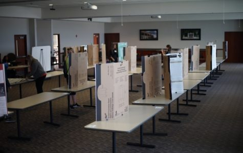 Rows of presentation boards line the AB Leadership Room in preparation for the Student Research Conference. <br> Photo by Mitchell Kraus