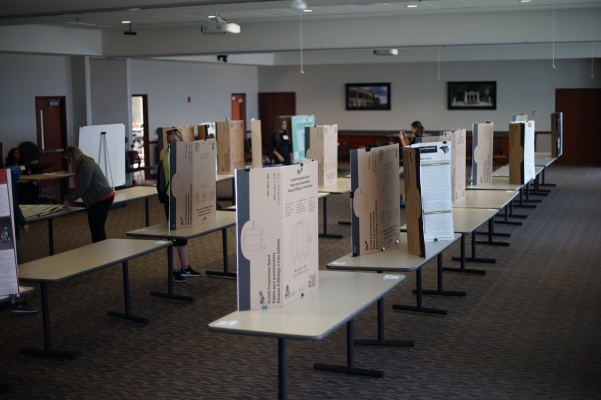 Rows of presentation boards line the AB Leadership Room in preparation for the Student Research Conference.  Photo by Mitchell Kraus