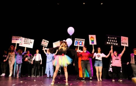 File photo: Heather Brown-Hudson and performers during the final number of the Gender Sexualities Alliance drag show on Tuesday night,