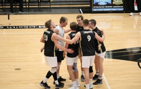 Lindenwood men's volleyball players celebrate scoring a point against Fort Wayne University in Hyland Arena on Feb. 23, 2018.  Photo by Mitch Kraus