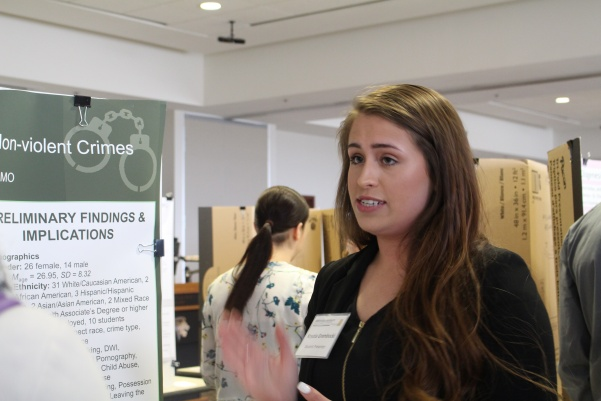 Krystia Grembocki is one of many students to present her research at the sixth annual Student Research Conference in the Anheuser-Busch Leadership Room.  Photo by Abby Stone.