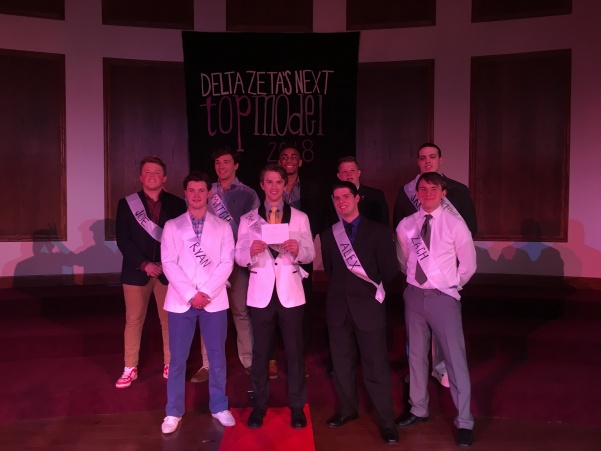 Delta Zeta raised over $900 at Big Man on Campus. Joe Rhemet, Mitchell Griffin, Keaton Jones, Chase Bascio, Jake Loftus, Ryan Kopp, Shane Henderson, Alex Burket,and Zach Shepard.  Photo by Arin Froidl