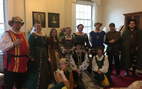 (From left) Captain of the English Guard, Jane Seymore, Princess Mary Tudor of England, Katherine of Aragon Queen of England, Anne Boleyn, Captain of the French Guard, Rion the Elf, Rahl the Bard, Struggles the Court Jester, Catherine of Austria Princess of Spain, Davina Gordon the Scot. Photo by Arin Froidl