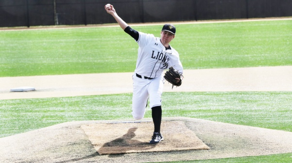 Pitcher Blake Beckmann, No. 28, delivers a pitch in the Lions' 10-5 win over Southwest Baptist University on Thursday afternoon.  Photo by Kyle Rhine