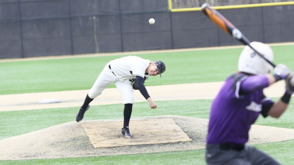 Pitcher Andrew Eilers, No. 21, delivers a pitch in Lindenwood's 17-6 win over Southwest Baptist on Friday afternoon in St. Charles.  Photo by Kyle Rhine