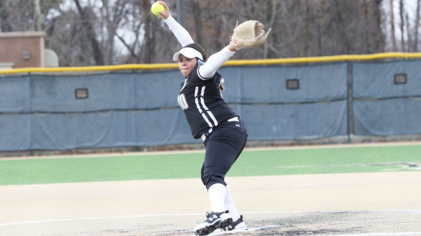 Pitcher Marina Esparza, No. 10, delivers a pitch in the Lions' 9-1 loss to Washburn on March 25 in St. Charles.  Photo by Kyle Rhine