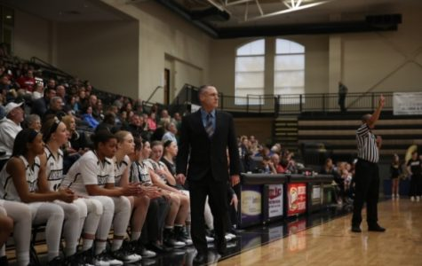 Former Lindenwood women's basketball coach Tony Francis watches on as the Lions played McKendree on April 2, 2017. <br/> Photo by Carly Fristoe.