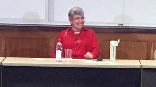 Author Ann Leckie came to Lindenwood to field questions and talk about writing.  Photo by J.T. Buchheit.