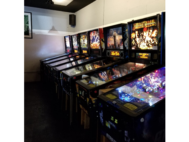 Pinball machines at Two Plumbers Arcade and Brewery. Games are swapped out every few months. Owner Robert Schowengert even takes customer requests when getting new games. <br> Photo by Alexandra McKenney