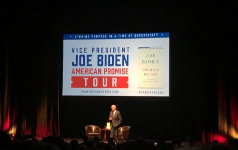 Former Vice President Joe Biden discusses hope, his son and running for president during his speaking event Thursday night at the Peabody Opera House. <br> Photo by Megan Courtney