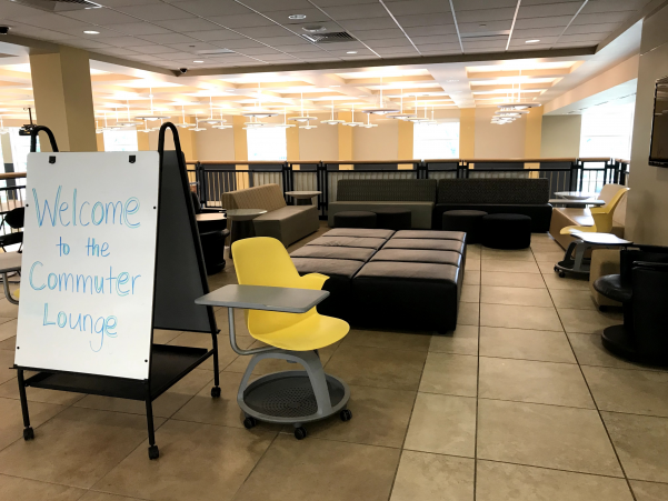 The new Commuter Lounge is located on the third floor of Evans Commons.  Photo by Lindsey Fiala