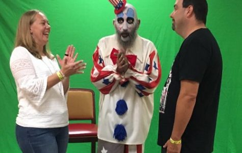 The Leassners getting married by Captain Spaulding at the Scares that Care convention on Aug. 4.  From right: Sarah Leassner, Sig Haig, Steve Leassner. <br> Photo provided by Sarah Leassner.