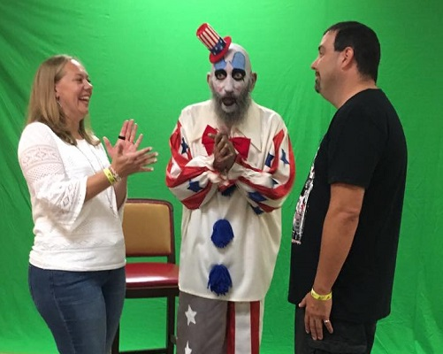 The Leassners getting married by Captain Spaulding at the Scares that Care convention on Aug. 4.  From right: Sarah Leassner, Sig Haig, Steve Leassner.  Photo provided by Sarah Leassner.
