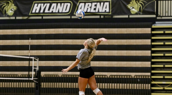 File photo: Senior Allyson Clancy spikes a ball during practice in the Hyland Arena. Clancy had a double-double with 45 assists, 13 digs and two aces against Missouri Southern on Saturday, Sept. 29. Photo by Mina San Nicolás Leyva