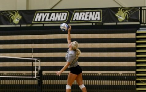 Senior Allyson Clancy spikes a ball during practice at Hyland Arena on Wednesday, Sept. 14. <br> Photo by Mina San Nicolás