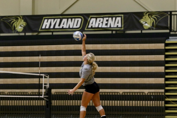 Senior Allyson Clancy spikes a ball during practice at Hyland Arena on Wednesday, Sept. 14.  Photo by Mina San Nicolás