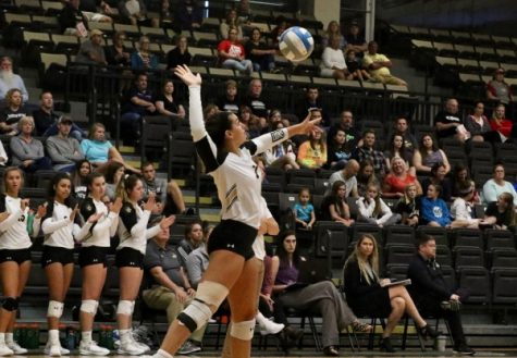Alexa Pressley serves against the Hornets from Emporia State on Saturday afternoon. Pressley is an outside hitter from Texas.   Photo by Mina San Nicolas