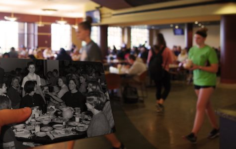 A photo of women in Ayres Dining Hall in 1966, with today's Spellmann Cafeteria in the background.  <br> Archive photo from the Mary E. Ambler Archives. <br> Photo illustration shot and edited by Kat Owens.