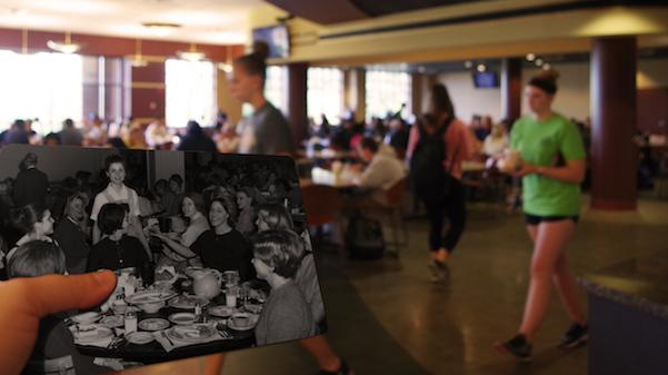 A+photo+of+women+in+Ayres+Dining+Hall+in+1966%2C+with+today%27s+Spellmann+Cafeteria+in+the+background.+++Archive+photo+from+the+Mary+E.+Ambler+Archives.++Photo+illustration+shot+and+edited+by+Kat+Owens.++