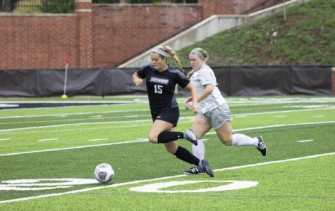 Forward Morgan Weller chases the ball down the field during a game against Missouri S&T. <br /> Photo by Lindsey Fiala
