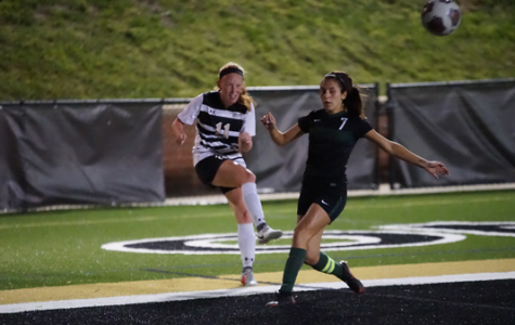 During a September home game, Missouri Southern State's Mara Faiazza attempts to stop a kick by Lindenwood junior Sammi Gregory. The Lions lost the match without scoring. <br> Photo by Mitchell Kraus