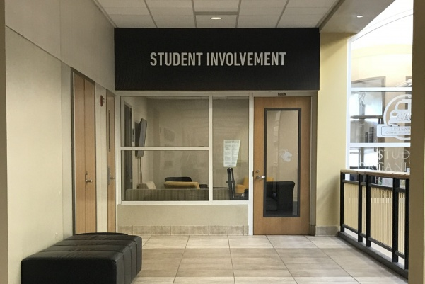 Outside the Student Involvement office, where CAB members work hard to organize campus events. Located on the third level of Evans Commons.  Photo by Lauren Pennock