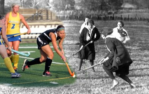 A photo merge of Lindenwood field hockey players from the 1920s and 2013.  Field hockey is one of the oldest sports at Lindenwood, with intercollegiate play dating back to the 1940s.  <br /> Photo illustration from the Mary E. Ambler Archives.