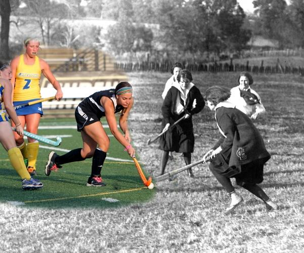 A+photo+merge+of+Lindenwood+field+hockey+players+from+the+1920s+and+2013.++Field+hockey+is+one+of+the+oldest+sports+at+Lindenwood%2C+with+intercollegiate+play+dating+back+to+the+1940s.+++Photo+illustration+from+the+Mary+E.+Ambler+Archives.+