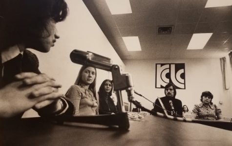 Students broadcast in the basement of the Memorial Arts Building.  <br /> Photo from the Mary E. Ambler Archives.