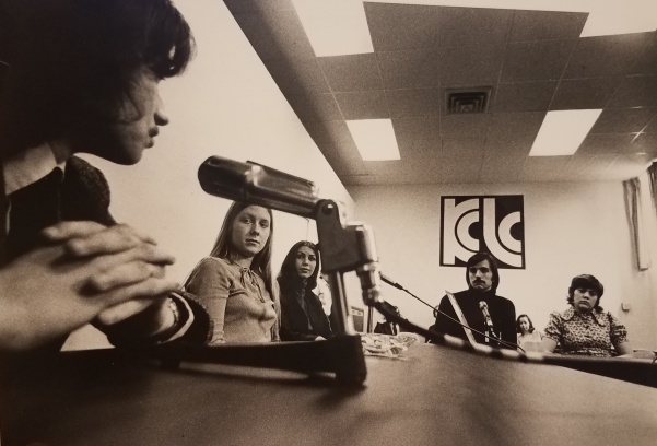 Students broadcast in the basement of the Memorial Arts Building.   Photo from the Mary E. Ambler Archives.